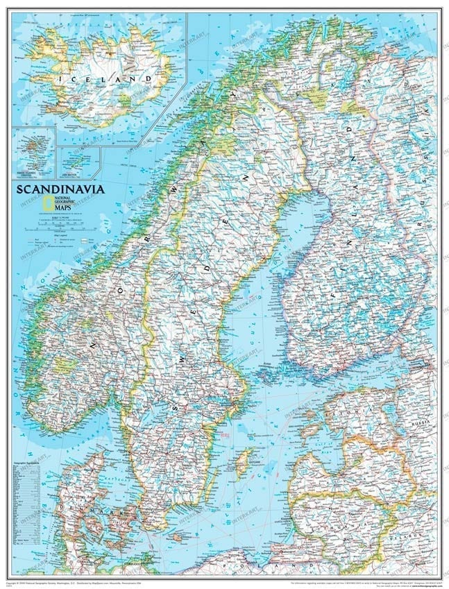 Skandinaviakart (standard) laminert 75 x 105cm