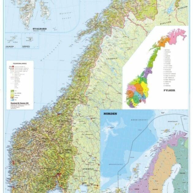 Norgeskart [papir] klebet på lær 160 x 225cm