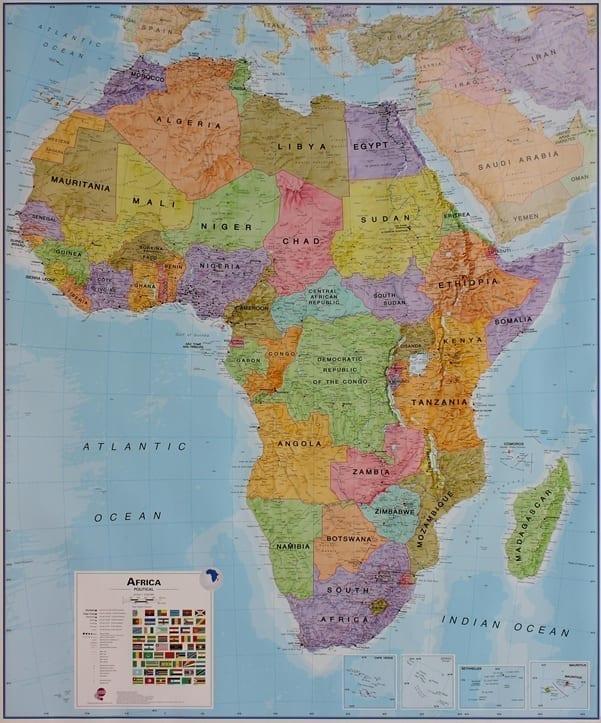 Afrika politisk veggkart laminert 120 x 175cm