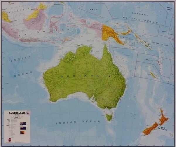 Australia og Stillehavet veggkart laminert 120 x 175cm