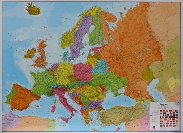 Europa politisk veggkart 120x170 cm