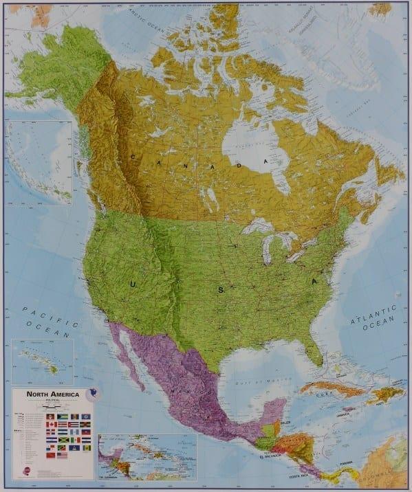 Nord-Amerika politisk veggkart laminert 120 x 175cm