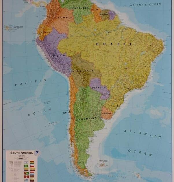 Sør-Amerika politisk veggkart laminert 120 x 175cm