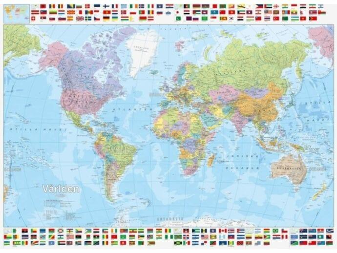 Verdenskart politisk m/flagg på topp/bunn laminert 100 x 150cm