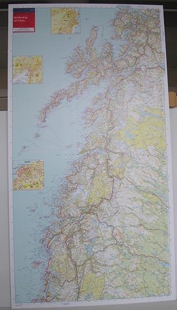 Nordland og Sør-Troms veggkart laminert 150 x 85cm