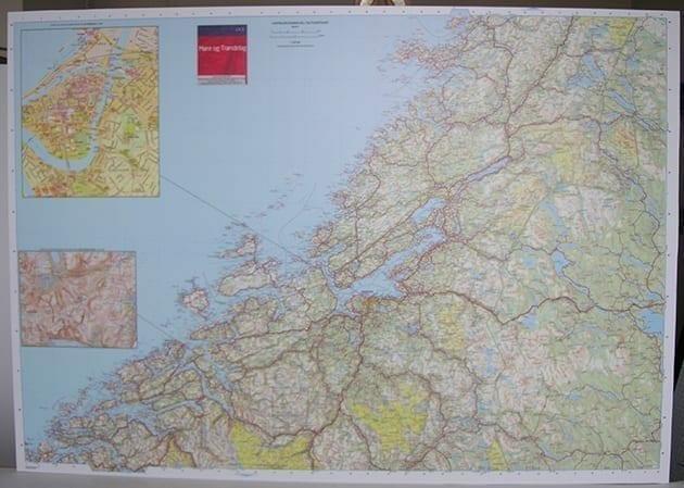 Møre og Trøndelag veggkart laminert 108 x 150cm
