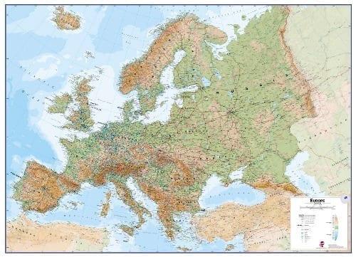 Europa topografisk veggkart laminert 100 x 140cm