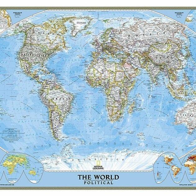 Verden politisk NGO veggkart laminert 122 x 176cm