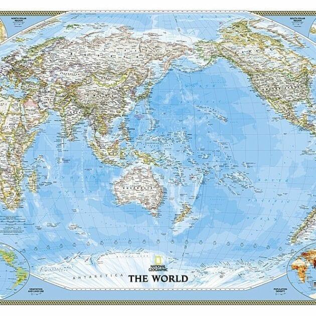 Verden (NGO) stillehavet sentrert veggkart laminert 122 x 185cm