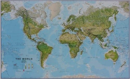 Verden topografisk veggkart laminert 100 x 150cm
