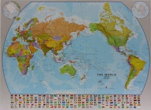 Verdenskart Stillehavet Senteret laminert 130 x 100cm
