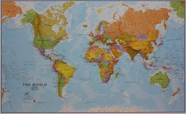 Verden politisk veggkart laminert 200 x 125cm