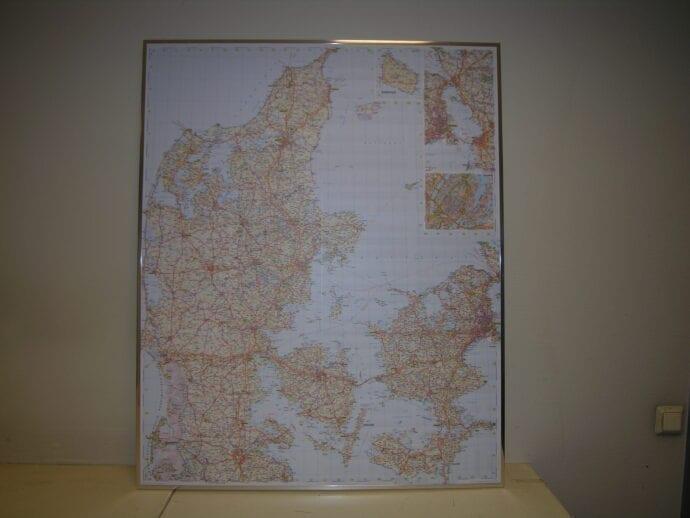 Danmark veggkart laminert 100 x 120cm