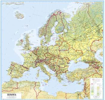 Europakart topografisk [papir]165 x 175cm