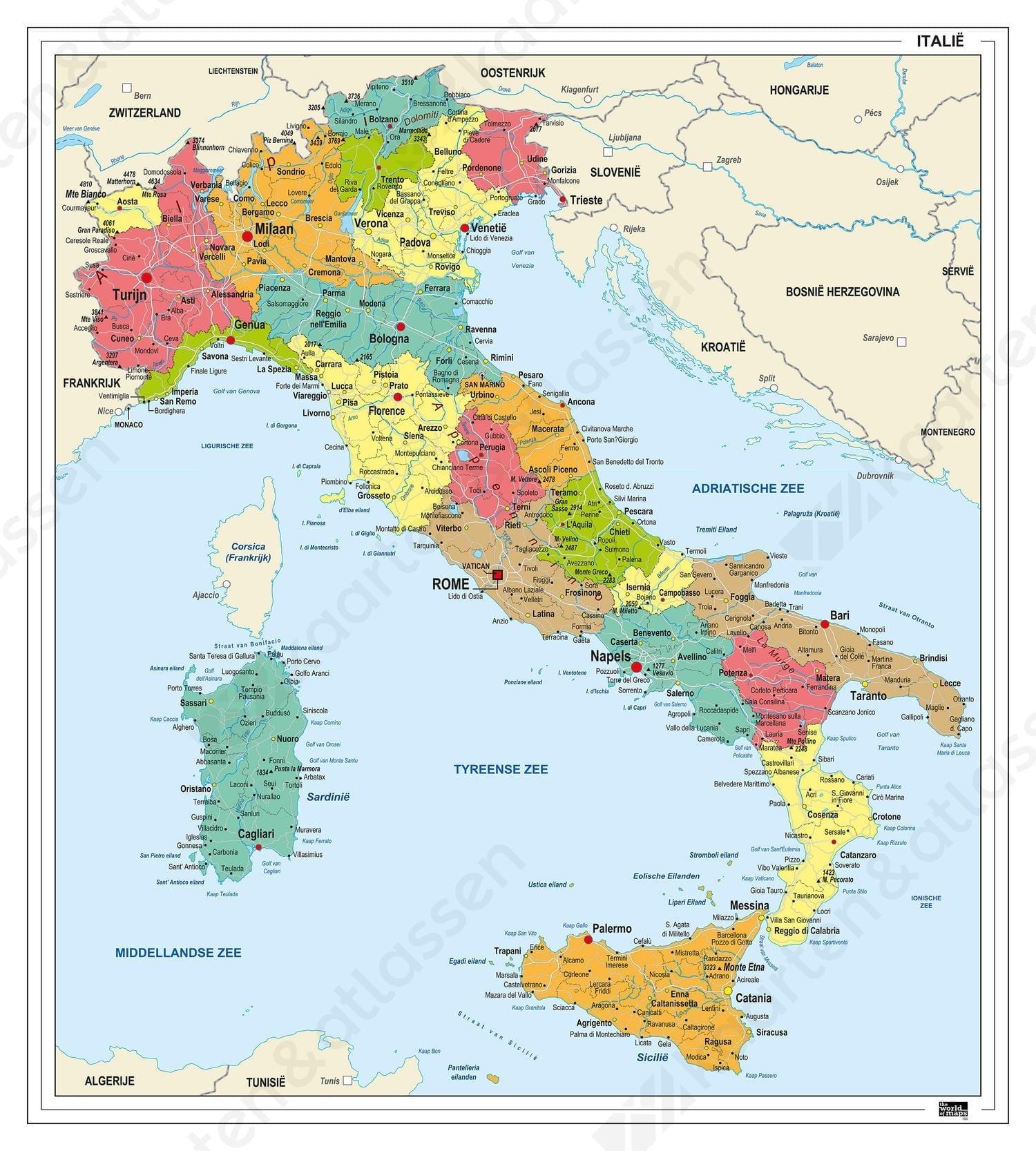 Italia Politisk Veggkart Laminert 145 X 100cm Incentives No