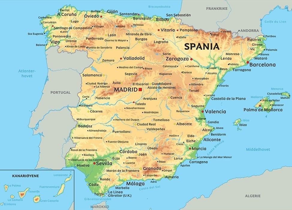 Spania Og Portugal Politisk Veggkart Laminert 120 X 175cm