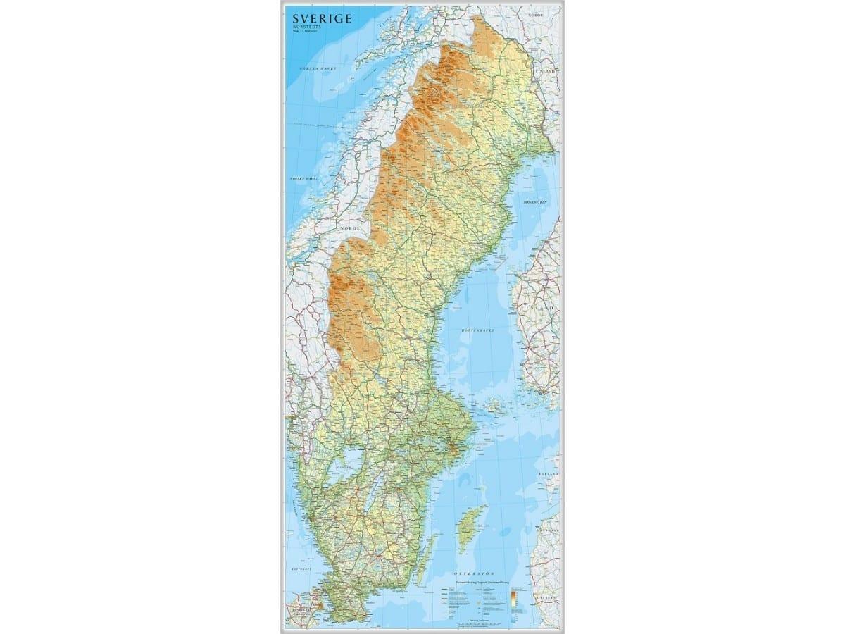 Sverige Veggkart Standard Laminert 75 X 160cm Incentives No