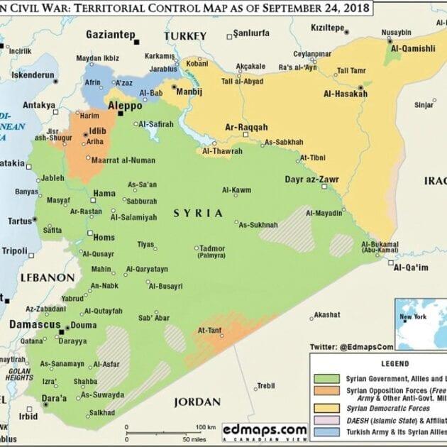 Syria veggkart (2015-2018) laminert 100 x 140cm